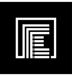 E capital letter made of stripes enclosed in a vector