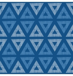 Abstract textile blue triangles ikat seamless vector image vector image