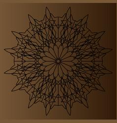 Black delicate circular pattern mandala on a vector