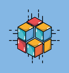 Blockchain cubes digital security technology vector