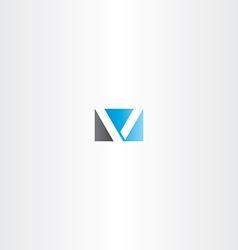 blue black letter v logotype vector image