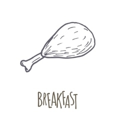 Breakfest hand drawn icon over white background vector image vector image