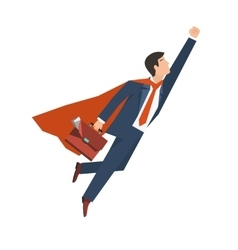 Businessman in a suit superhero flies up vector