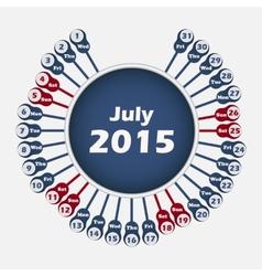 Calendar 2015 july template vector