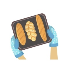 Child with tray of bread only hands vector