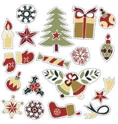 Christmas goods patches badges or fashion pin vector image