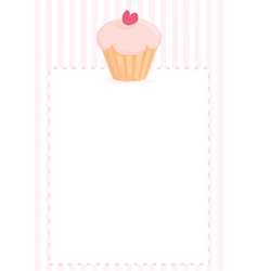Cupcake with heart sweet pink menu vector