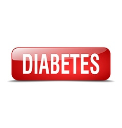 Diabetes red square 3d realistic isolated web vector