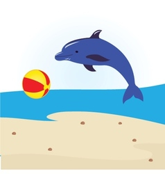 Dolphins swimming on its back vector