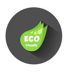 Eco friendly green leaf flat with long shadow vector