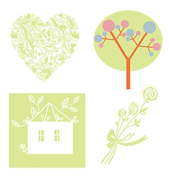 Eco set with tree heart house vector image vector image