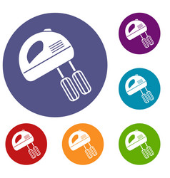 Electric mixer icons set vector