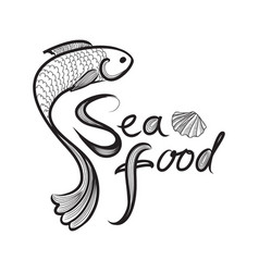 Fish icon seafood sign fish menu restraunt cover vector
