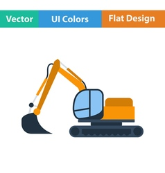 Flat design icon of construction bulldozer vector image