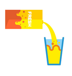 Fresh juice packing and glass pour yellow liquid vector