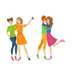 Girls make selfie hugging set flat isolated vector