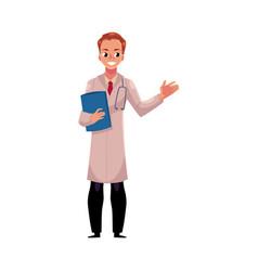 Male doctor in medical coat holding stethoscope vector