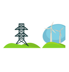 Metal tower for wires and wind generations on vector