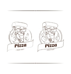 Pizza funny character lineart vector