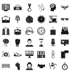 Round clock icons set simple style vector