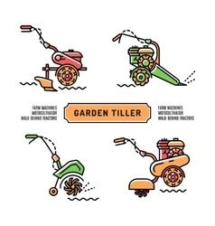 Set logos Garden Tiller thin line art style vector image vector image