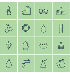 set of 16 planting icons includes hanger vector image