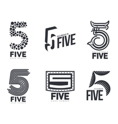 Set of black and white number five logo templates vector
