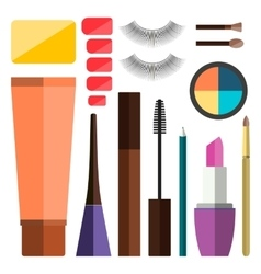 Set of flat cosmetics vector