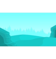 Silhhouette of cliff and fog vector image