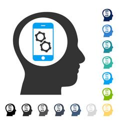 Smartphone mind control icon vector