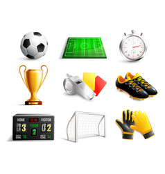 soccer 3d icons set vector image vector image