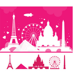 white paris silhouette on pink background travel vector image