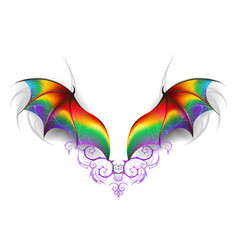 wings of rainbow dragon vector image vector image