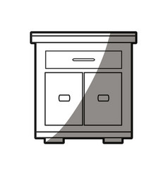Wooden table furniture cabinet shadow design vector