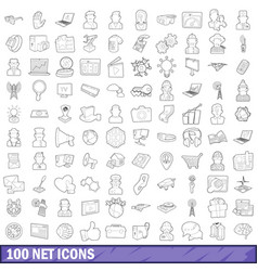 100 net icons set outline style vector