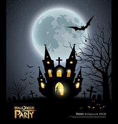 Halloween party house scary background vector