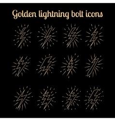 Golden thin line lightning bolts set vector image
