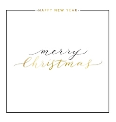 Merry christmasgold text isolated on white vector