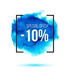 Special offer sale on blue watercolour background vector