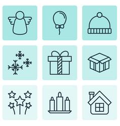 set of 9 celebration icons includes festive vector image