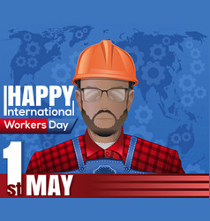 labor day card 1 may international workers day vector image