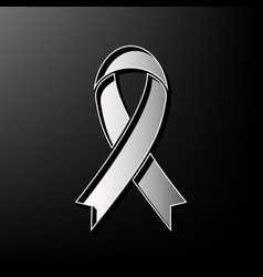 Black awareness ribbon sign gray 3d vector