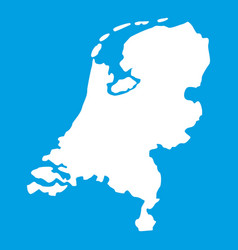 Holland map icon white vector