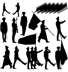 Silhouette military people collection vector image