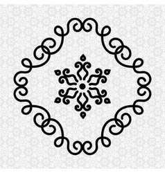Elegant flourish twirl frame and flower in line vector