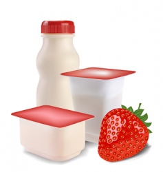 Yogurt and strawberries vector