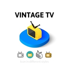 Vintage tv icon in different style vector