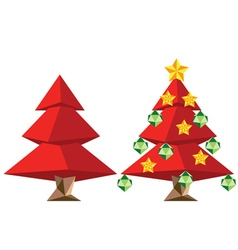 Red polygonal christmas tree vector