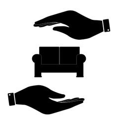 Sofa in hand icon vector