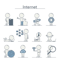 Outline people internet vector